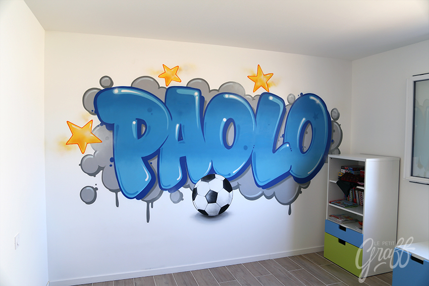 paolo chambre foot le petit graff d coration graffiti fresque murale trompe l 39 oeil graphisme tag. Black Bedroom Furniture Sets. Home Design Ideas